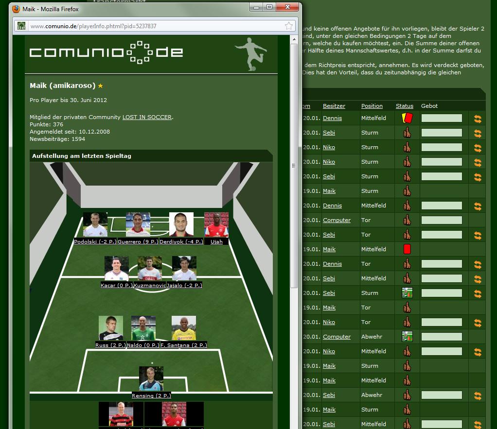 Fußball-Manager Comunio.de Screenshot